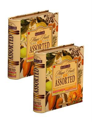 Набор  Чай Basilur Чайная книга. Волшебные фрукты. Ассорти 64г.*2. Цвет: оранжевый, зеленый