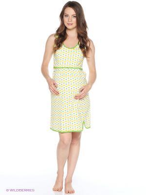 Ночная сорочка для беременных и кормления 40 недель. Цвет: желтый