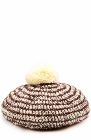 Шерстяная вязаный берет с помпоном и отделкой металлизированной нитью 0711. Цвет: кремовый