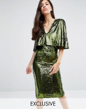 Club L Платье миди с пайетками. Цвет: зеленый