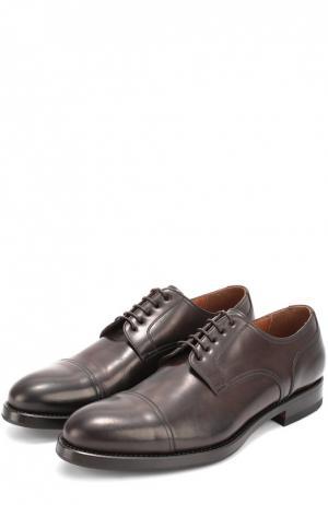 Классические кожаные дерби W.Gibbs. Цвет: темно-коричневый