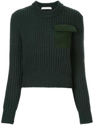Джемпер с нагрудным карманом Dion Lee. Цвет: зелёный