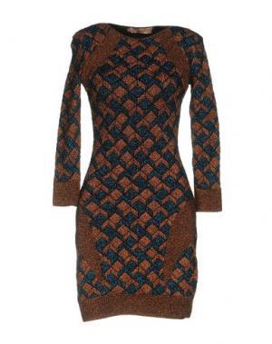 Короткое платье VICEDOMINI. Цвет: коричневый