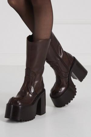 Кожаные сапоги на платформе Marc Jacobs. Цвет: коричневый