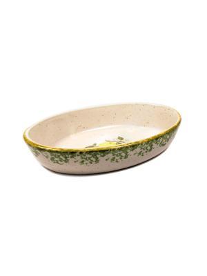 Форма для запекания овальная Elff Ceramics. Цвет: белый, зеленый