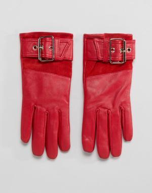 River Island Красные кожаные перчатки на меховой подкладке. Цвет: красный