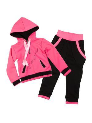 Трикотажный костюм babyAngel. Цвет: розовый, черный
