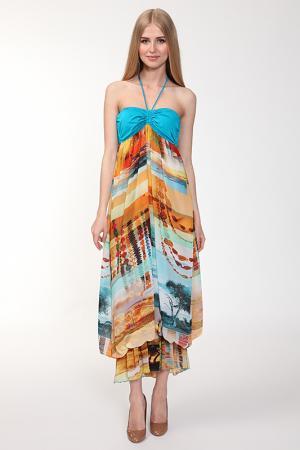 Платье Nicole Olivier. Цвет: голубой, бежевый(950)