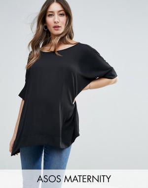 ASOS Maternity Свободная футболка‑кимоно для беременных с V‑образным вырезом сзади AS. Цвет: черный