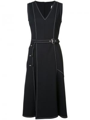 Платье с V-образным вырезом контрастной строчкой Derek Lam. Цвет: чёрный