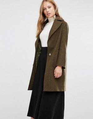 Cooper & Stollbrand Меланжевое пальто цвета хаки Drop Break. Цвет: зеленый