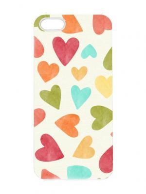Чехол для iPhone 5/5s Акварельные сердца Арт. IP5-199 Chocopony. Цвет: белый, зеленый, бордовый, голубой, оранжевый