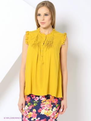 Блузка YUVITA. Цвет: горчичный
