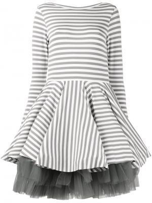 Платье в полоску Natasha Zinko. Цвет: серый