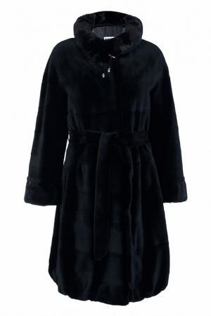 Пальто с мехом норки Bellini. Цвет: черный