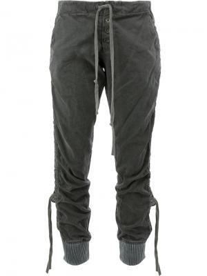 Двухцветные брюки в стиле милитари Greg Lauren. Цвет: серый