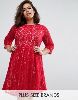 Praslin Кружевное приталенное платье Plus. Цвет: красный