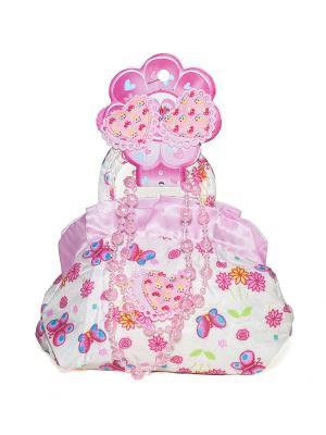 Сумка детская с бусами и резинками Castlelady. Цвет: розовый