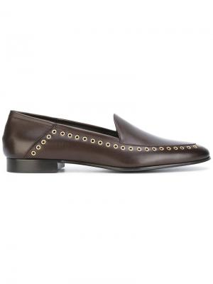 Grommet detail loafers Louis Leeman. Цвет: коричневый