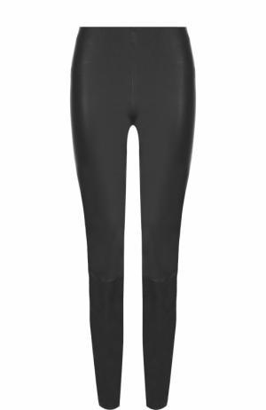 Однотонные кожаные брюки-скинни By Malene Birger. Цвет: темно-серый