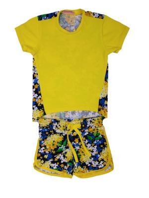 Костюм: футболка, шорты Sladikmladik. Цвет: желтый