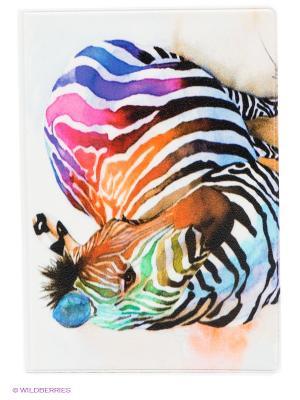 Обложка для паспорта Радужная зебра Mitya Veselkov. Цвет: белый, черный, сиреневый, рыжий