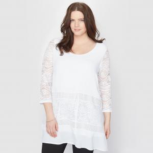 Блузка расклешенная с кружевными рукавами TAILLISSIME. Цвет: белый