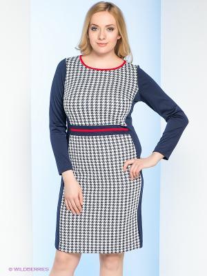 Платье Milana Style. Цвет: темно-синий, белый