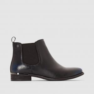 Ботинки кожаные ELLE. Цвет: черный