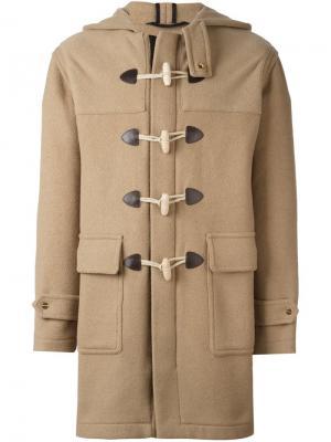 Пальто-дафлкот с капюшоном Palm Angels. Цвет: телесный
