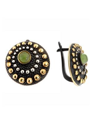 Серьги Балтийское золото. Цвет: черный, зеленый, светло-зеленый, оливковый, золотистый