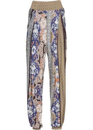 Пляжные брюки (коричневый/лиловый/белый) bonprix. Цвет: коричневый/лиловый/белый