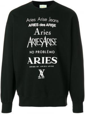Толстовка с логотипом Aries. Цвет: чёрный