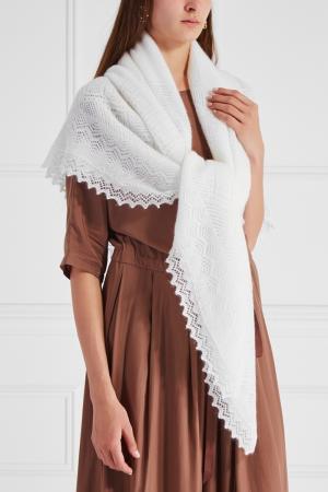 Пуховый платок Оренбургский. Цвет: белый