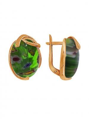 Серебряные серьги KRASNOE. Цвет: золотистый, зеленый