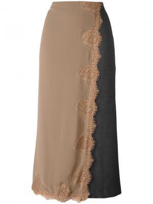 Длинная юбка с многослойным эффектом Erika Cavallini. Цвет: серый