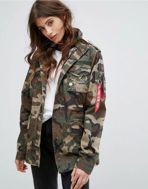 Alpha Industries Куртка с драконом Huntington. Цвет: коричневый