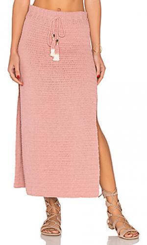 Миди юбка с вышивкой крошё jannah SHE MADE ME. Цвет: румянец