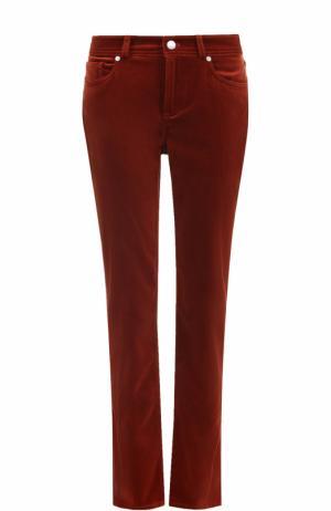 Укороченные бархатные джинсы прямого кроя Loro Piana. Цвет: бордовый