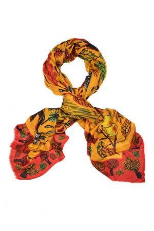 Кашемировый платок «Осенние листья» Gourji. Цвет: желтый