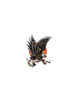Временная переводная татуировка Орел МнеТату. Цвет: голубой, сиреневый, фиолетовый, красный, желтый, черный, синий, зеленый, морская волна