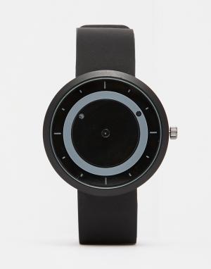 Dark Future Часы с матовым черным ремешком и подвижными дисками. Цвет: черный