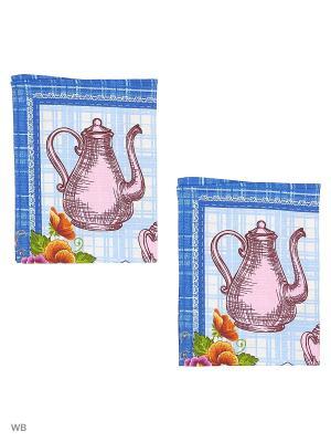 Набор полотенец вафельных кухонных Римейн. Цвет: синий, фиолетовый