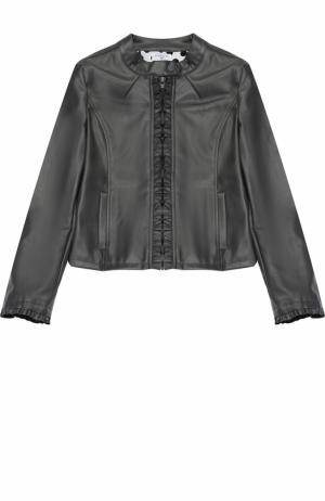 Куртка из эко-кожи на молнии с рюшами Monnalisa. Цвет: серый