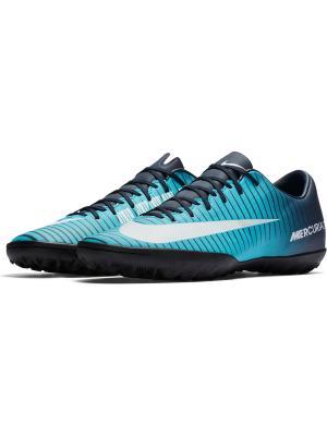 Бутсы MERCURIALX VICTORY VI TF Nike. Цвет: синий