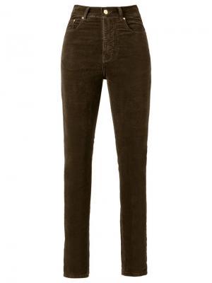 Бархатные брюки скинни с высокой талией Amapô. Цвет: коричневый