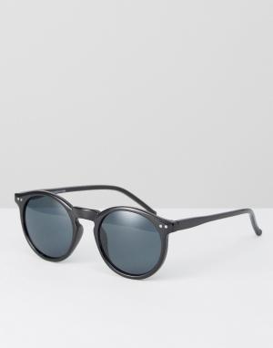 New Look Круглые солнцезащитные очки в черной оправе. Цвет: черный