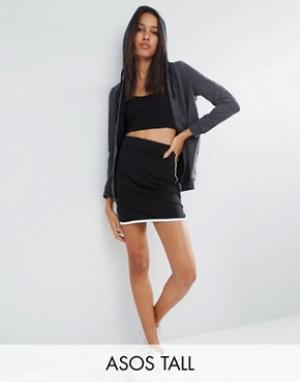 ASOS Tall Мини-юбка с контрастной окантовкой в спортивном стиле. Цвет: черный
