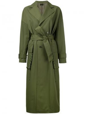 Пальто с декоративной обметкой на карманах G.V.G.V.. Цвет: зелёный