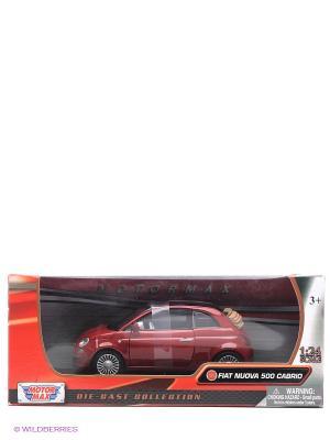 Машинка коллекционная Fiat Nuova 500 Cabrio Motormax. Цвет: красный
